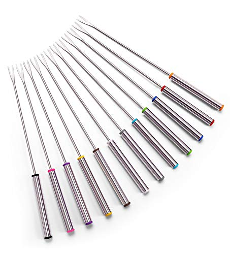 Set of 12 Stainless Steel Fondue Forks 9.5""