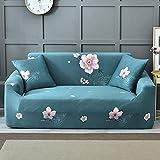 Fundas Sofas 3 y 2 Plazas Ajustables Flor Rosa Azul Petróleo Fundas para Sofa Spandex Fundas Sofa Elasticas Estampadas Funda Sillon Universal Espesas Cubre Sofa Verano Modernas Fundas de Sofa