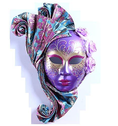 YU Feng Máscara Pintada a Mano, Vestido Veneciano con decoración Elegante, púrpura, máscara de Venecia