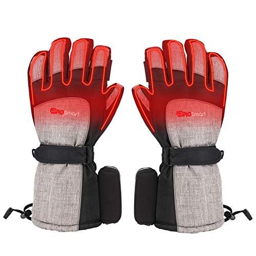 Beheizte Handschuhe Elektrische Beheizbare Handschuhe mit 3 Wärmestufen, Winter-Warmhandschuhe Heizung Motorradhandschuhe Beheizt Handwärmer mit 4800mAh 3,7V Typ-C Akku (Schwarz+Grau, M)
