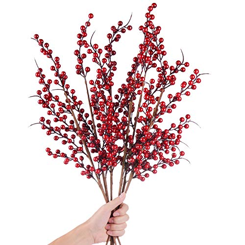 DearHouse 4 Pack Artificial Red Berry Stems Holly...