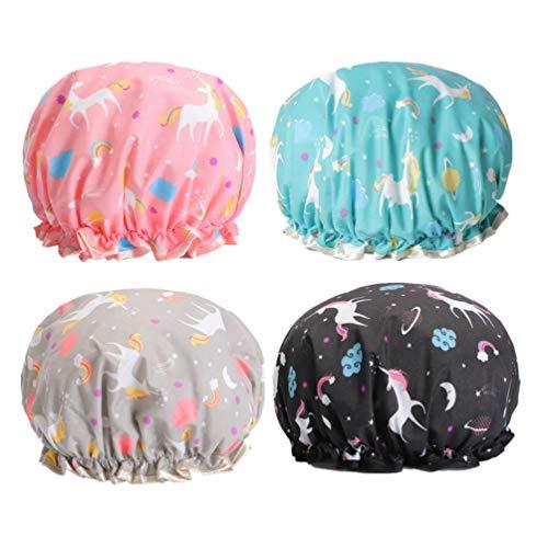 TENDYCOCO Duschhauben wasserdichte Doppelschichten Badekappen Einhorn Wiederverwendbare Shampoo Kopfbedeckung für Duschbad Salon 4St. Größe L