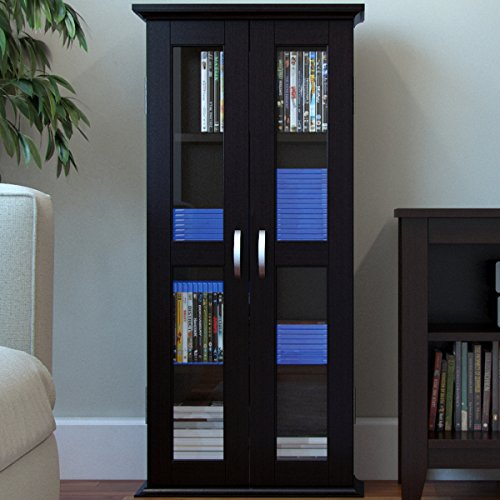 "Ryan Rove Kirkwell 41"" Wood Bookcase Multimedia Organizer Shelf DVD Media Storage Tower with Doors in Black"