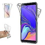REY - Funda Carcasa Gel Transparente Doble 360º para Samsung Galaxy A7 2018, Ultra Fina 0,33mm, Silicona TPU de Alta Resistencia y Flexibilidad