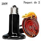 Lucky Farm 2 Pcs 200W Lampe de Chauffage pour Animaux de Compagnie, Ampoule Infrarouge en céramique E27 pour lézard Tortue Serpent araignée Oiseaux Maintien au Chaud (200W)