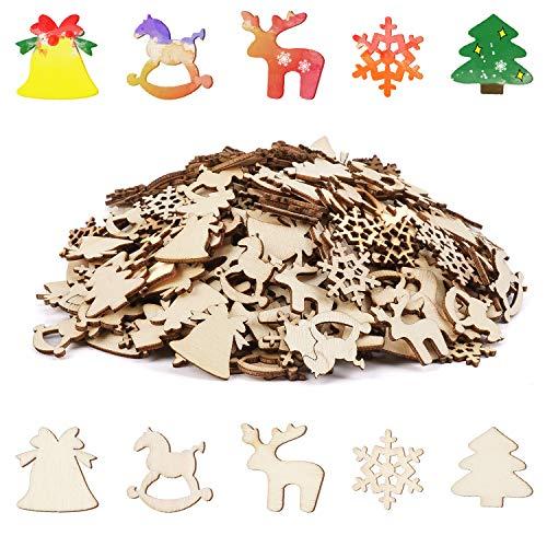 LOVEXIU Adornos Arbol Navidad Madera 300pcs,Decoracion Arbol Navidad, Etiquetas Navidad Regalo En Blanco,Tarjetas Manualidades Navidad, para Ventanas,Vidrio,Navidad DecoracióN Casa Arbol Colgantes