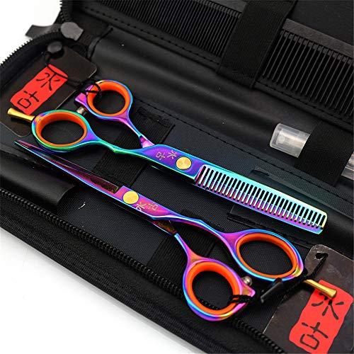 Ciseaux Coiffure Professionnel Super Sharp 5.5 pouces Outil Trousse Mince Ciseaux de coiffeur Combinaison Set Parfait pour les femmes et les hommes(Coloré)