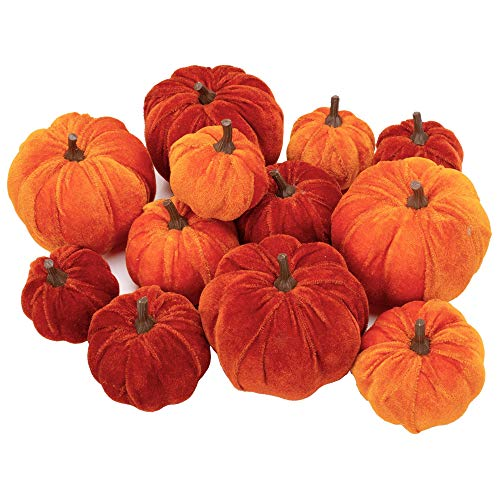 12 Pcs Artificial Pumpkins Velvet Pumpkins with Assorted Sizes Fall Harvest Halloween Decorations Holiday Table Decor Farmhouse Decorations for Home