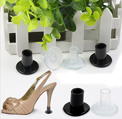 Flyusa 6 Pairs Cylinder Shape High Heel Protectors Shoes Stopper Cover Cap Pad -Walk Safely on High Heels Shoe Cover,Black,Size M