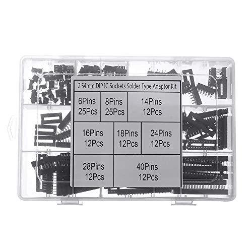 DollaTek 122pcs DIP IC Adaptador de enchufe Tipo de soldadura Kit de enchufe 6/8/14/16/18/24/28/40 Pines