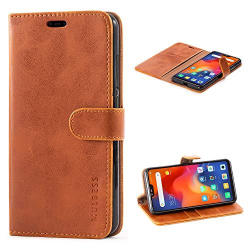 Mulbess Handyhülle für Xiaomi Mi 8 Lite Hülle Leder, Xiaomi Mi 8 Lite Handy Hüllen, Vintage Flip Handytasche Schutzhülle für Xiaomi Mi 8 Lite Hülle, Braun