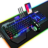 FELiCON Wired Game Keyboard and Mouse Combo, RGB LED Backlit Mechanical Feel Keyboard with Hand Rest Phone Holder,and 6 Button 3200 DPI Mice and Large RGB Mouse Pad for Computer Gamer Office