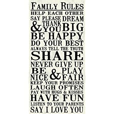 Artissimo Designs Family Rules Help Each Other Say Please & Thank-you 1-Piece Sign Image Distressed Printed White Background Canvas Art, 30 by 15-Inch, Perfect For Any Decor