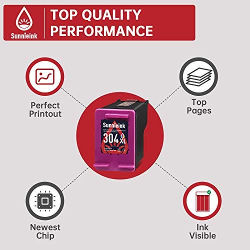 Sunnieink - Cartucho de tinta remanufacturado para impresora HP 304 XL 304XL con HP Envy 5020 5010 5030 DeskJet 2600 2630 2620 3720 2633 2622 2632 3733 2634 AMP 130 (1 tricolor. )