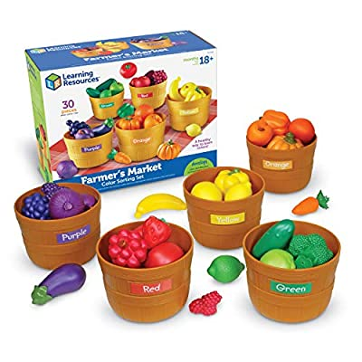 Learning Resources Farmer's Market Color Sorting Set, Homeschool, Play Food, Fruits and Vegetables Toy, Easter Toys, 30 Piece Set, Easter Gifts for Kids, Ages 3+ from Learning Resources
