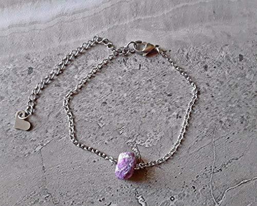 July Birthstone Raw Ruby Stainless Steel Chain Bracelet