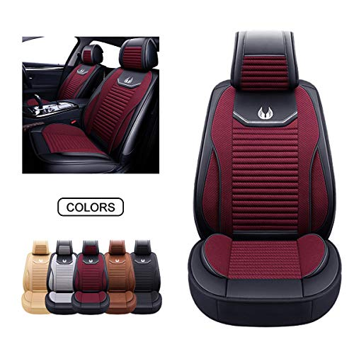 OASIS AUTO Leather&Fabric Car Seat Covers, Faux Leatherette Automotive Vehicle Cushion Cover for Cars SUV Pick-up Truck Universal Fit Set Auto Interior Accessories (OS-008 Front Pair, Burgundy)