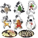 Favengo 6 pcs moldes navidad galletas cortador galletas navidad cortadores navideños galletas moldes acero inoxidable molde de muñeco de jengibre cortador para hacer galletas cookie (6 forma)