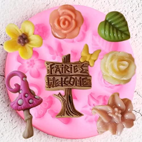 Moldes de silicona, herramientas de decoración de tartas de cumpleaños para bebés DIY, moldes de silicona para jardín de hadas, hojas de flores, decoración para cupcakes, fondant, dulces, moldes de c
