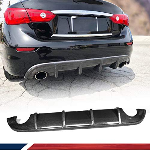 JC SPORTLINE Carbon Fiber Rear Diffuser Fits for Infiniti Q50 Q50S 2014 2015 2016 2017 Bumper Cover Lower Lip Spoiler Valance Protector Factory Outlet