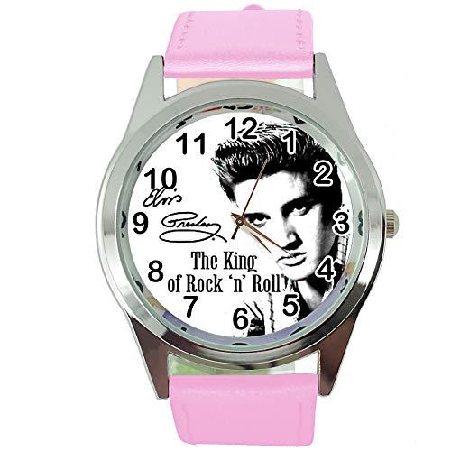 Taport® Elvis Presley Quarzuhr mit rosafarbenem Echtlederband