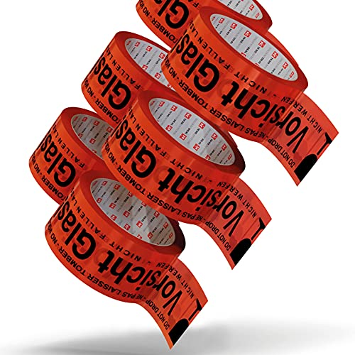 LILENO HOME Klebeband Vorsicht Glas 50mm x 66m [12 Rollen] leise abrollend - Paketklebeband Vorsicht zerbrechlich - Breites Packband als Packing Tape-Set - Rotes Paketband als Paket Klebeband