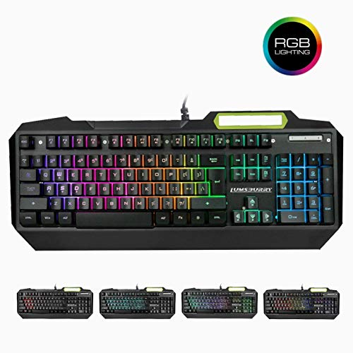 RGB LED Backlit Gaming Keyboard with Anti-ghosting, Light up Keys Multimedia Control, USB Wired Waterproof Metal Keyboard for PC Games Office (Cool Black)