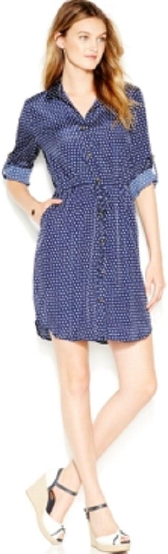 Maison Jules Womens Satin Polka Dot Sweatshirt Dress Navy L
