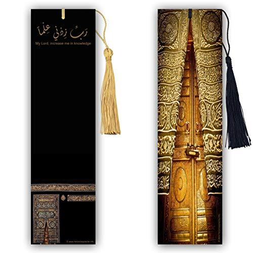 Herzenslinge.info – Due segnalibri islamici Kaaba, Mekka, rivestimento lucido su entrambi i lati, dimensioni 5,1 cm x 18,6 cm, orientale