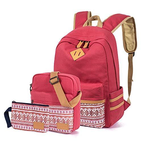 Leaper Rucksäcke für Teenager Mädchen Teenager Rucksack Set Schultaschen Büchertaschen 3-in-1, rose (Pink) - BP5274