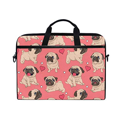 WowPrint Laptop Sleeve, Cute Pug Dog Laptop Case Shoulder Strap with Handle Portable Notebook Computer Bag for 13 13.3 14 15 inch