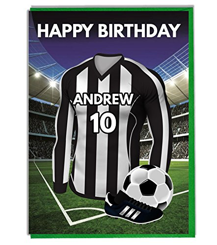 Personalised Football Themed Birthday Card for - Dad - Husband - Son - Daughter - Mum - Black and White Shirt Top