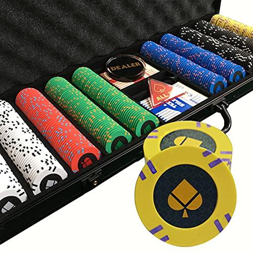 YZJJ Maletín de Poker Set 500 Chips Láser 14 Gramos Núcleo de Metal, Juego de póquercon 2 Barajas de Cartas, Distribuidor y 5 Dados