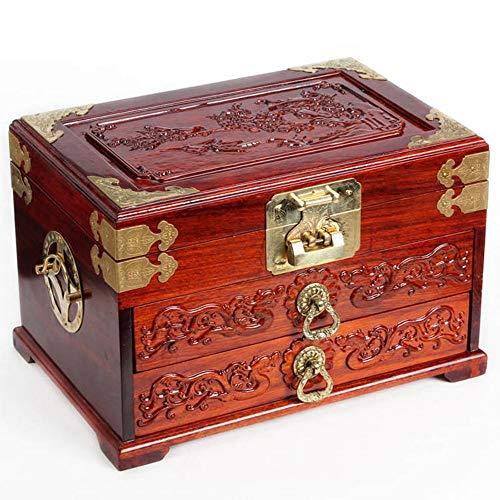Sammlungsorganisator für Schmuckstücke Chinese Retro Dressing Box Vintage-Schatztruhe mit Spiegel Holz Kreative Hochzeit Geschenk Festival Geburtstags-Geschenk ( Farbe : Rot , Größe : 31.5×21×20.5cm )