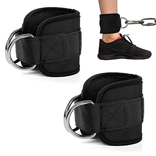 Zrova Ankle Straps for Cable Machines, Adjustable Ankle Straps for Legs Workout (Black)