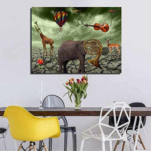 MNNPY Poster Elephant Deer Trompete Gemälde Leinwand gedruckt Wandkunst druckt Poster für Wohnzimmer Tier Home Decor 20X27Inch (50X70cm)