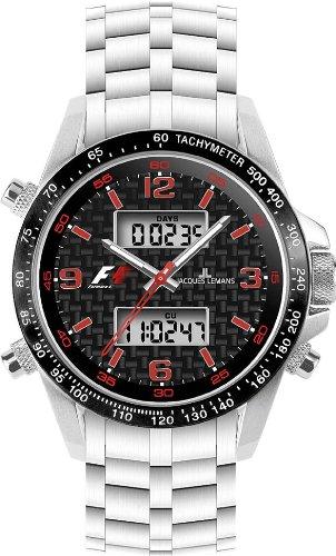 Jacques Lemans, Formula 1, Herrenarmbanduhr, Analog/Digital Multifunction - Chrono schwarz/rot