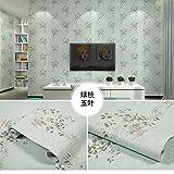 LZYMLA - Papel pintado autoadhesivo de PVC, para dormitorio, sala de estar, habitación de los niños, decoración de gabinete, impermeable, fondo de pared, 60 cm x 10 m, diseño de hojas verdes