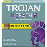 Trojan Ultra Thin Lubricated Condoms, 36 Count (Pack of 1)
