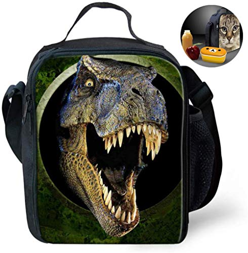 LHY Coolest Dinosaurio 3D-Drucken Kinder-Mittagessen-Beutel, Kinder Multi Convertible Resuable Cross Insulated Thermal Lunchbox Taschen stilvolle bewegliche Kühlbox Behälter-Kasten,A