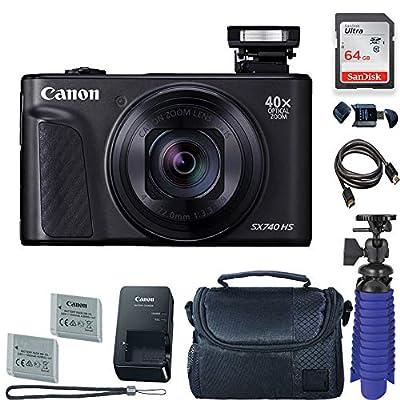 Canon PowerShot SX740 HS Digital Camera (Black) with 64 GB Card + Premium Camera Case + 2 Batteries + Tripod by Canon