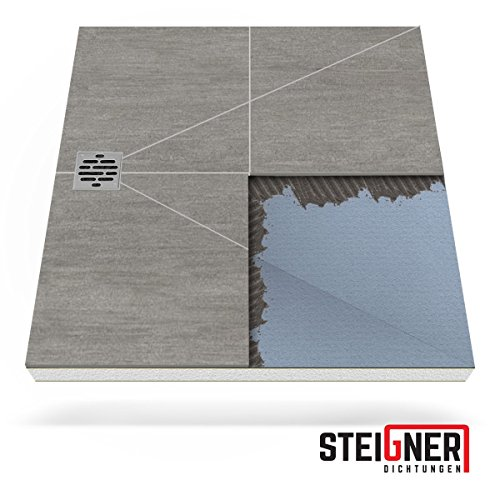 Duschelement MINERAL PLUS 4.Pos Duschboard befliesbar 90x120 cm DEZENTRALER Punkt Ablauf WAAGERECHT - EPS Bodenelement ebenerdig barrierefreie Duschwanne bodengleich