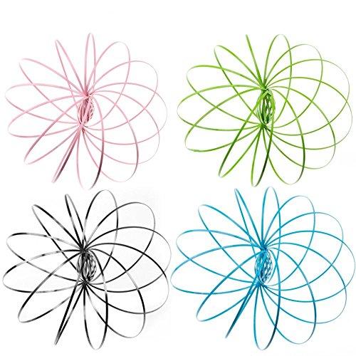 Vier Pack Flow Ring Kinetische 3D Frühling Spielzeug Skulptur Ring Spiel Spielzeug Für Kinder Jungen Und Mädchen, Rave Zubehör, Festival Zubehör