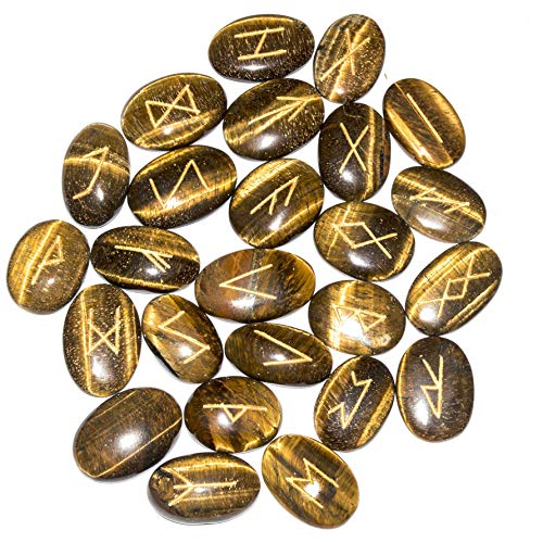 FASHIONZAADI 25 Pcs Tiger Eye (Oval Shape) Engraved Reiki Healing Rune Stone for Chakra Balancing Aura Cleansing Gemstone Crystal Energy EMF Protection Peace of Mind