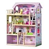 COSTWAY Puppenhaus aus Holz, Puppenstube mit Möbel, Puppenvilla rosa, Holzpuppenhaus für Mädchen,...