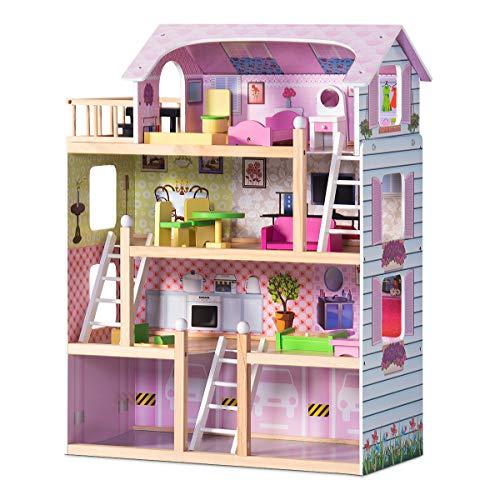 COSTWAY Puppenhaus aus Holz, Puppenstube mit Möbel, Puppenvilla rosa, Holzpuppenhaus für Mädchen, Barbiehaus, Spielzeughaus 81 x 60,5 x 29,5 cm