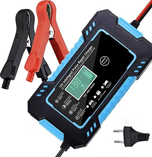 CUIJU Cargador de batería para automóvil Cargador de batería Inteligente automático Mantenimiento de 12 V con Pantalla LCD Paquete de Cargador de reparación de Pulso (Azul)