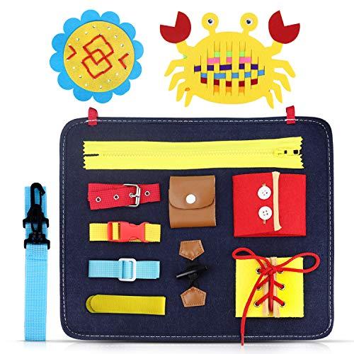 aovowog Montessori Spielzeug ab 1 2 3 4 Jahr Junge Mädchen,Busy Board Beschäftigtes Brett Lernspielzeug für Kinder Kleinkind,Sensorikspielzeug Frühpädagogische Aktivitätsboard
