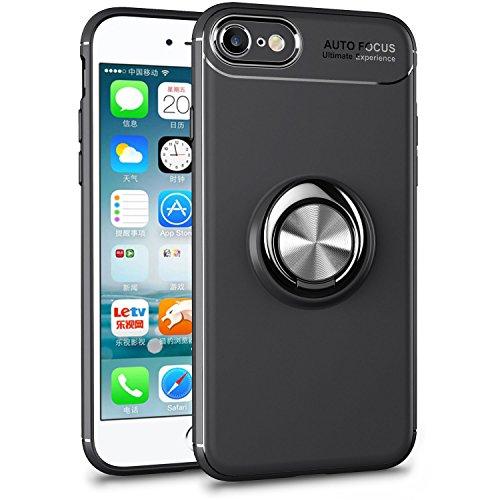 iPhone7 ケース/iPhone8 ケース リング付き スマホケース スリム 薄型 4.7インチ専用 スマホケース 耐衝撃 ストラップホール 黄変防止 全面保護 軽量 携帯カバー スクラッチ防止 滑り防止 アイフォン7/8 ケース 一体型 (iPhone8/7, ブラック(リング付き))