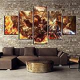 ZDDBD Cuadro de decoración del hogar 5 Piezas póster de World of Warcraft Pinturas sobre Lienzo Arte de Pared para decoración del hogar decoración de Pared